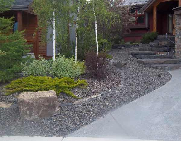 Small sloped front yard with low maintenance shrubs. A gravel bed of crushed rock flows out to the street like a river from the front stone steps.