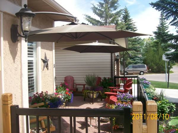 Patios are usually associated with backyard landscaping.
