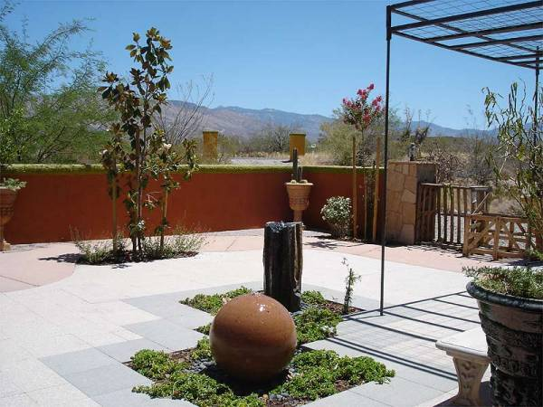 A residential zen design for this desert backyard with two bubblers providing the center of attention.