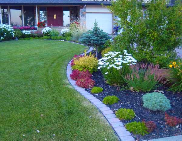 Landscape bricks make for nice clean defined borders between a lawn and garden.