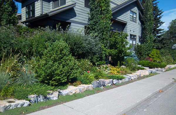 Large stone edging is a great alternative to low stone walls.