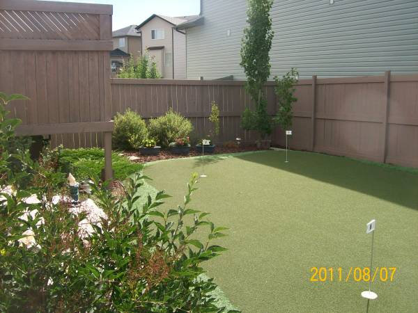 Putting greens like this artificial one are becoming very popular for backyard landscaping.
