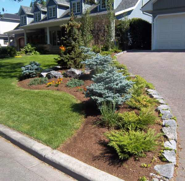 Landscaping A Sloping Driveway : Curbside landscape border on perennials front yard desig