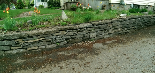 This low stone retaining wall lines a driveway while providing an extension of flat yard for a garden bed.