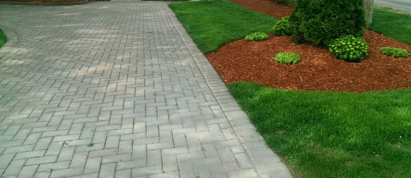 A brick paver driveway is contrasted by red mulch and a deep green lawn. This is a very simple and affordable low maintenance front yard idea.