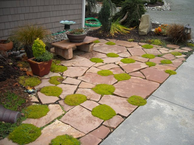 Flagstone Patio With Stone : Patio landscaping ideas