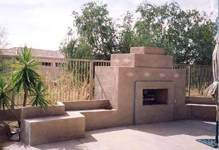 Outdoor fireplaces are very popular in desert settings like this one.
