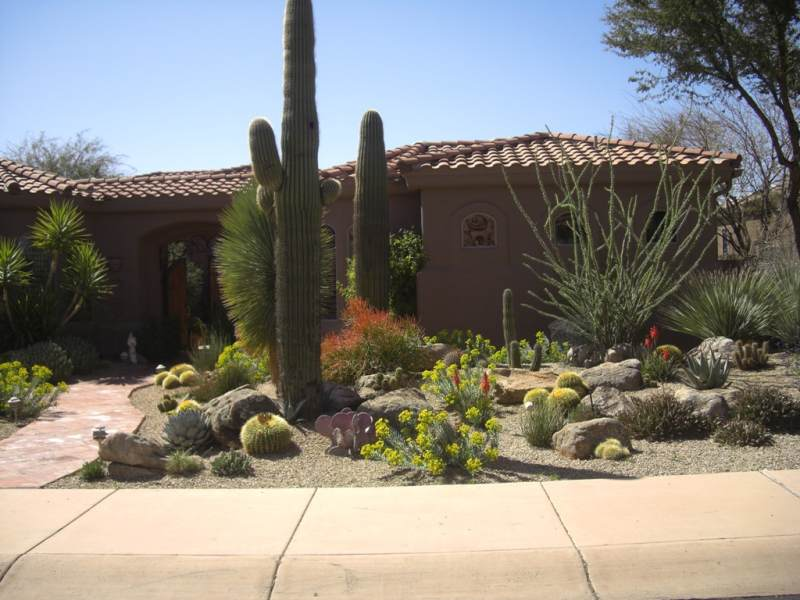 A flagstone walkway leads to the front entryway of this desert home between boulders that look like they were naturally deposited right where they sit.