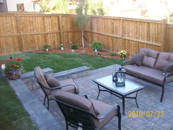 This is a typical small city backyard with a simple and practical design.