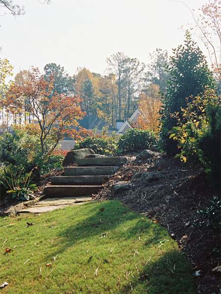 A nice set of natural stone steps takes users to the next level.