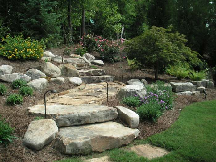 Landscaping Ideas With Stone : Although this hillside landscape design looks simple it contains many
