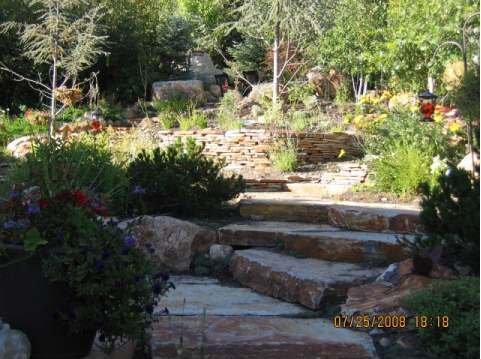 Stone slabs are a great feature for hillside landscaping.