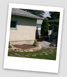 Dry laid flagstone patio