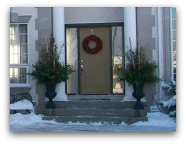 During the winter months and Christmas season, these planters are replaced with a more seasonal arrangement.