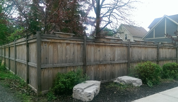 A few simple rocks and shrubs can break up the monotony of a large side yard privacy fence. This basic fence is dressed up slightly with top rail peak boards.
