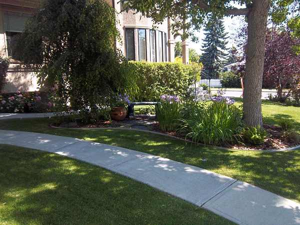 Mow over edging provides a nice clean border around this front yard garden.