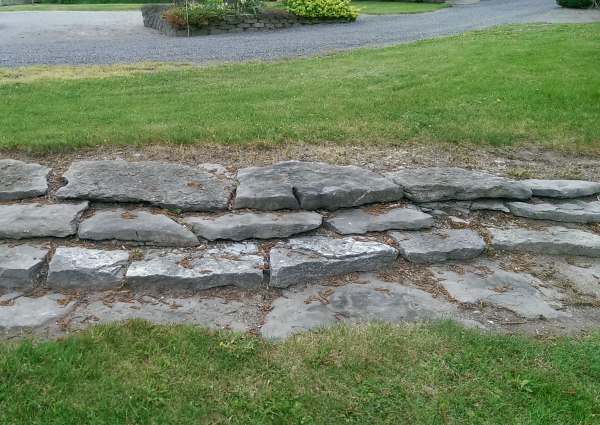A simple way to deal with a small slope. Stone steps are much easier to build than most people think.