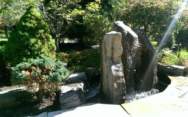 A freestanding water feature is a nice way to welcome visitors to your home.