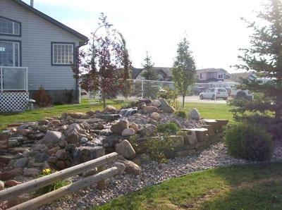 Add trees and shrubs around a built up water feature to balance the height in a flat yard.