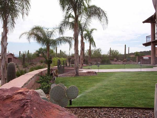A large residential desert region backyard with an irrigation system for the lawn.