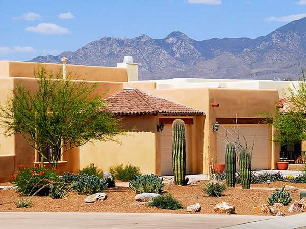 Arizona xeriscape design for a residential front yard.