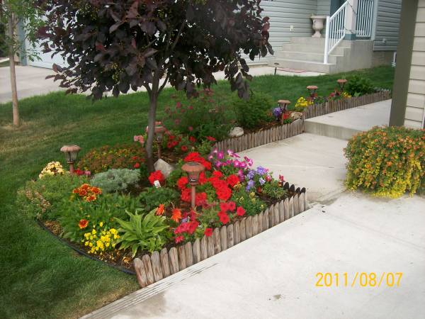 This small front yard garden bed has a nicely arranged mix of annuals and perennials.